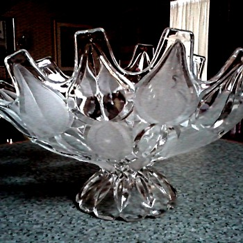 Satin and Clear Console Bowl /Crystal Clear Importing Co. Inc. Mouth Blown Crystal Made in Romania/ Circa Mid-20th Century - Art Glass