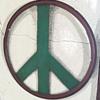 Original 1960s Hippie Folk Art Scrap Metal Peace Symbol
