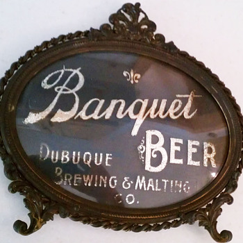 Dubuque Brewing & Malting convex glass sign-Iowa - Breweriana