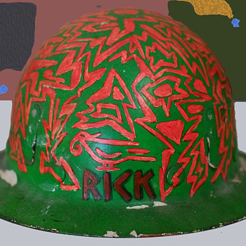 1960s Psychedelic Hippie Folk Art - Rick's Construction Helmet - Hats