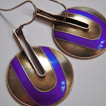 Beautiful Mid Century Sterling Earrings With Enamel~Stamped S925~Scandinavian?