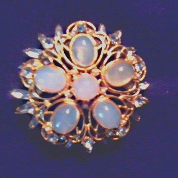 Impressive Large Faux Moonstone Brooch/ Unmarked and Unknown Age - Costume Jewelry