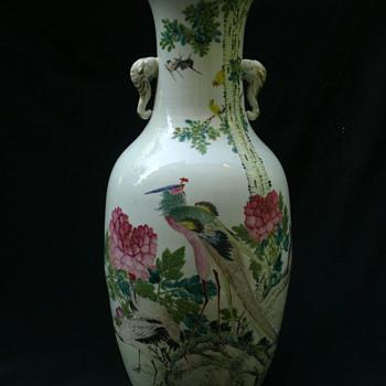 late Qing Qianjiang Floor Vase by  Zhu Shao Quan  - Asian