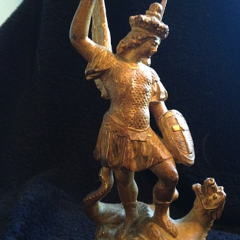 Gilt St George Slaying the Dragon Statue - Figurines