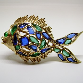 Trifari Modern Mosaics Fish  - Costume Jewelry