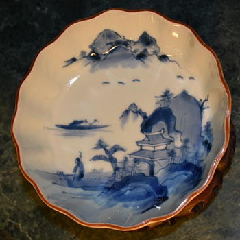 Japanese OLD IMARI porcelain NAMASU plate with good painting of landscape -?? - Pottery