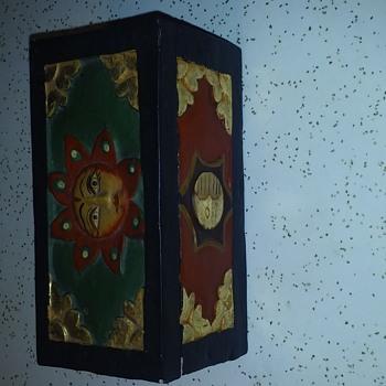 Wood carved Sun and Moon / Yin Yang Trinket Box