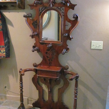 mahogany victorian hall stand with cast iron umbrella trays - Furniture