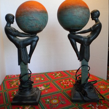bronze marble lamps - Art Deco