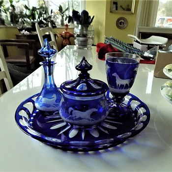 Bohemian Cobalt blue Table Set - Art Glass