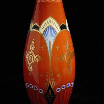 Glass or Porcelain Vase? Unidentified red cross inside oval mark. - Pottery