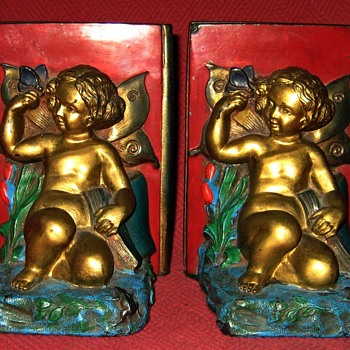 "1924 Ronson #7072 ""Cherub And Butterfly"" Bookends - Books"