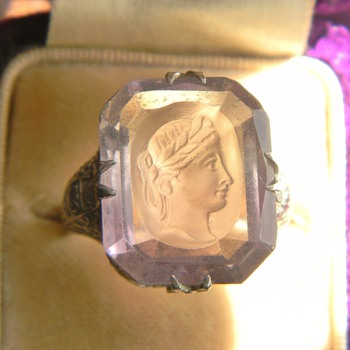 Art Deco Ascher Cut Rose De France Amethyst Intaglio 14k Filigree Ring - Fine Jewelry