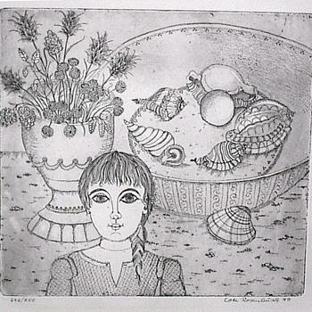Black & white print on watercolor paper