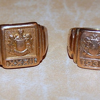 Dad and Mom's Class Rings, marked 10K - Costume Jewelry