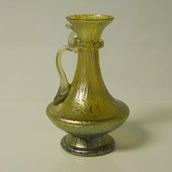 LOETZ Candia papillon Blue Gold Iridescent Art Glass Pitcher Jug.c1900