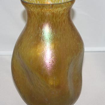 Amber Oilspot Vase - Art Glass