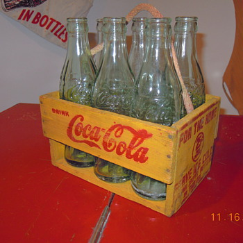 1940's Coca-Cola Carrier, Six Bottle, Rope Handle - Coca-Cola
