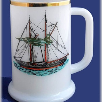Milk Glass Tankard Mug -- With Boat  and fighting Jet Plane - Kitchen
