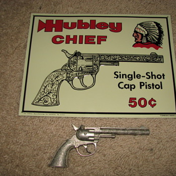 Hubley Chief  Tin Sign and Cap Gun