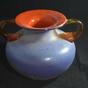 Brown handled blue pot with orange interior - Art Glass