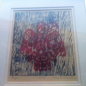 Northwest Tribal American Native woodblock print