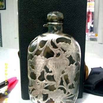 """Silver over Glass Flask 6 5/8"""" tall"""