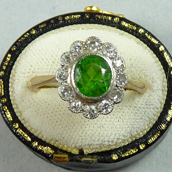 1.6ct Demantoid Garnet and Diamond Ring