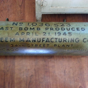 "WWII practice bomb, dated and ""Last bomb produced"" garage sale find! - Military and Wartime"