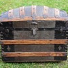 "1885-1890's  33"" Ornate Cross slat Barrel Top Trunk"