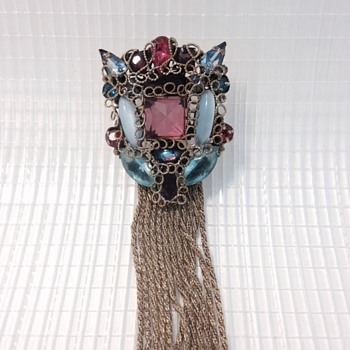 Victorian Brooch with moon glass and colored glass with braided tassel bottom - Costume Jewelry