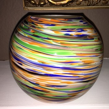 Unsigned Spatter? Art Glass Bowl - Art Glass