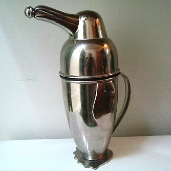 "Restoration Hardware ""Napier"" Style 1936 Penguin Martini Cocktail Shaker and Server/ Stainless Steel/ Circa 20th Century - Art Deco"