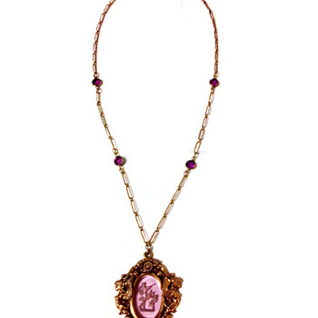 Vintage Goldette Victorian Renaissance Intaglio Necklace - Costume Jewelry