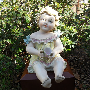 Large Vintage Bisque Piano Baby - Dolls