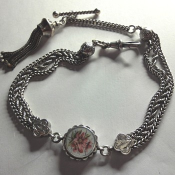 Victorian Sterling Silver enameled watch Chain - Victorian Era