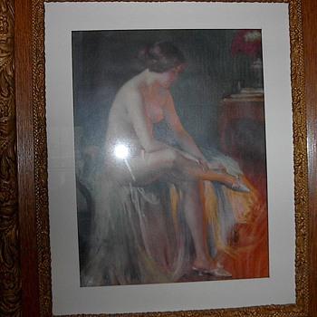 A glowing 1920's pinup girl pastel print.