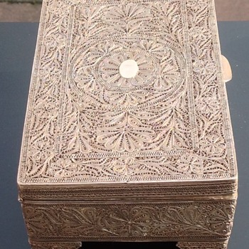 Antique Portuguese Filigree silver Goan Box.