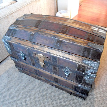 Restored 1880's Trunk Leather Covered Trunk - Furniture