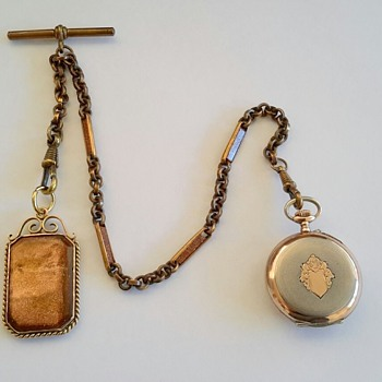 "Pocket watch chain and fob with ""Goldstone Aventurine Glass"" - Pocket Watches"
