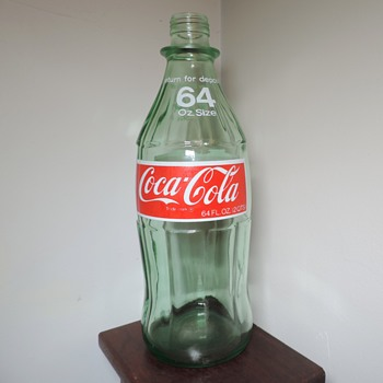 1975 Coke Coca Cola Soda Bottle 64 Ounces Anchor Hocking Glass ACL South Connellsville, PA Half Gallon - Bottles