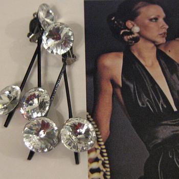 Lewis Segal California 1970's rhinestone earrings - Costume Jewelry