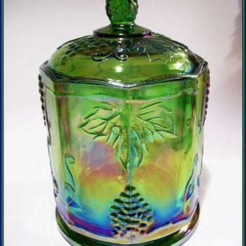 INDIANA GLASS CANISTER -- GREEN -- Carnival Glass - Glassware