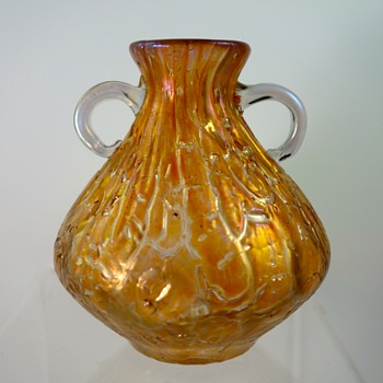 Loetz 2-handled vase, orange Astglas, PN II-294, ca. 1900 - Art Glass
