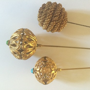Selection of round ball-shaped hatpins - Victorian Era