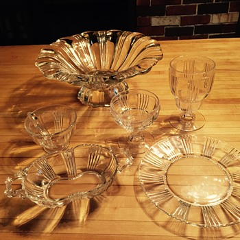 Clear Depression Glass Set- unknown pattern - Glassware