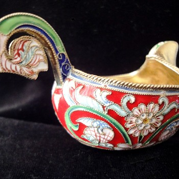 Russian Gilt Silver Enameled Kohvs marked 88 - Silver