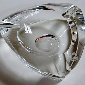 Triangular Crystal Ashtray~GORGEOUS!~Strange Mark Imbedded~How Old do You Think? - Art Glass