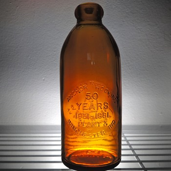 1981 Anchor Hocking 50th Anniversary Bottle Winchester Indiana Glass Embossed Amber Brown Collectible Award - Bottles