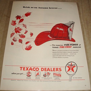 "Texaco Fire Chief ""Brisk as an Autumn breeze..."" Magazine Ad"